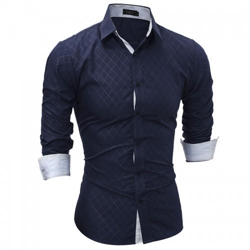 2017 Autumn New Men s Plaid Shirt Fashion Men Slim Fit Long Sleeved Shirt Casual Social