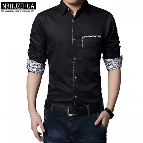 2017 Casual Men Shirt Long Sleeve Mens Dress Shirts Slim Fit Social Male Shirt Plus Size