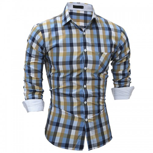 2017 Men s plaid shirt Casual Fashion Brand Business Shirt Long Sleeve Men s Shirts Slim