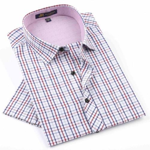 2017 NEW Brand Men s shirts Fashion Casual Plaid short sleeve shirt men Dress shirt spring