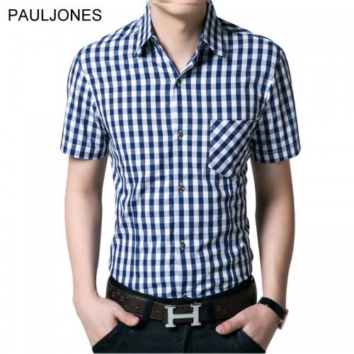 2017 New short sleeve shirt men 100 cotton Casual Brand plaid shirts men s dress shirt