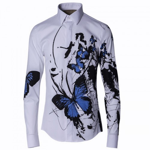 2017 Stylish Men Shirt Luxury Brand Designer Ink Blue Butterfly Print Floral Shirts Men Long Sleeve