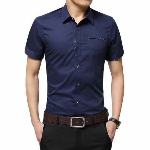 2017 Summer New Men s Shirt Brand Luxury Men Cotton Short Sleeves Dress Shirt Turn down