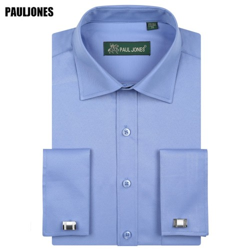 5XL Long Sleeve French Cuff Men Business Shirt Regular Fit Solid Formal Social Dresses Brand China