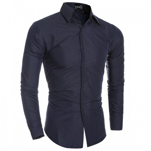 Fashion Embossing Floral Prints Mens Dress Shirts Long sleeve Slim Fit Casual Social Camisas Masculinas for