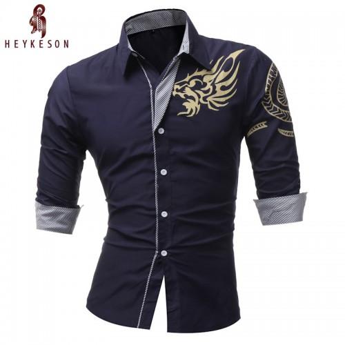 HEYKESON 2017 New Men S Long Sleeved Dress Shirt Dragons Men S Casual Slim Lapel Male