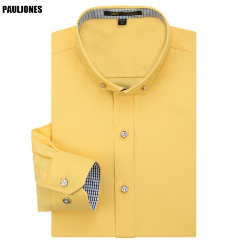 High Quality New Spring Mens Long Sleeve Dress Shirts Luxury Quality Collar Button Designer Social Male