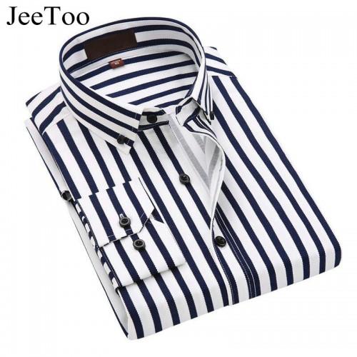 JeeToo 2017 Men Shirts Long Sleeve Cotton Mens Dress Shirts Striped Business Men Casual Shirt Slim
