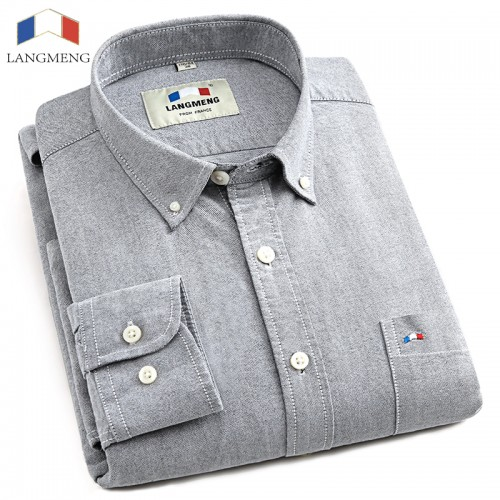 LANGMENG 2017 Brand Clothing 100 Cotton Hot Sale Oxford Men Fashion Dress Shirts Male Long Sleeve