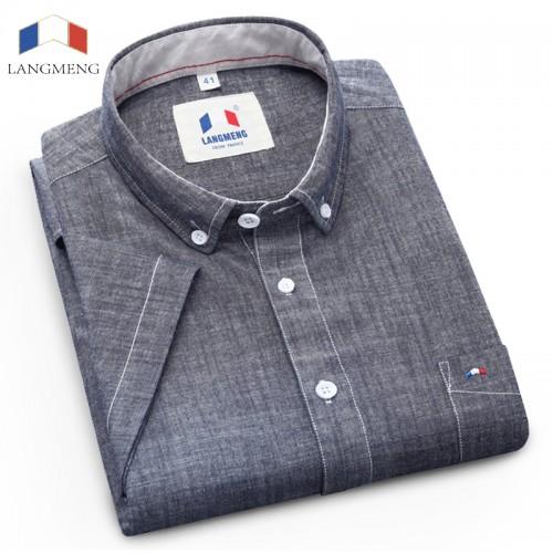Langmeng Brand 100 Cotton 2017 New Stylish Pattern Short Sleeved Casual Shirt Men Mens Slim Fit