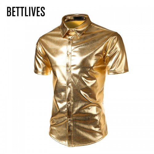 Mens Trend Nightclub Coated Metallic Halloween Gold Silver Button Down Shirts Party Shiny Short Sleeve Dress