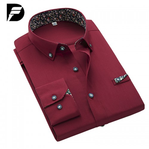 New Brand Mens Black Dress Shirt Male Fashion Solid Mens Casual Shirts Luxury Men Dress Shirts