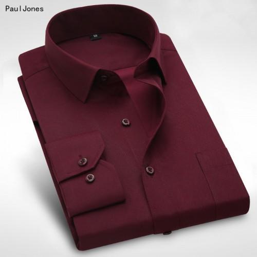 PaulJones Plus size 8XL Long Sleeve Solid Men Dress Shirts Large 7XL 6XL White Social Shirts
