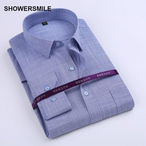 SHOWERSMILE Brand Clothing Bamboo Fiber Shirt Mens Long Sleeve Slim Fit Formal Party Dress Shirt Korean