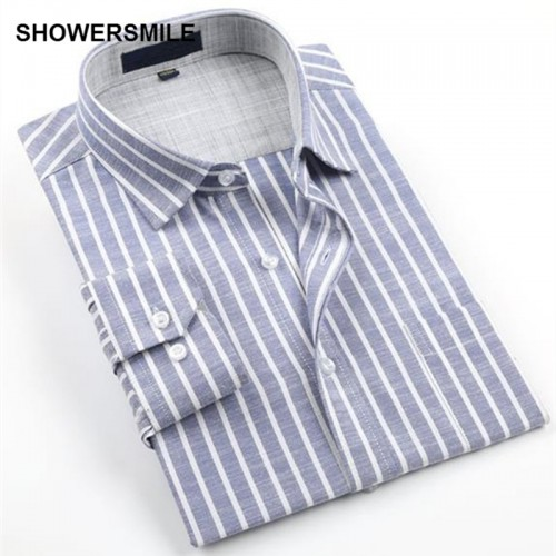 SHOWERSMILE Brand Clothing Linen Shirts Men Long Sleeves Plus Size No Iron Cotton Flax Business Casual