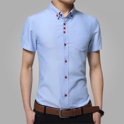 new 2016 summer fashion man short sleeve shirt Men dress leisure pure color lapel slim fit