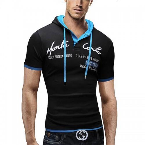 2017 Fashion Brand Men Polo shirt Solid Color Short sleeves Slim Fit Shirt Men Cotton Hooded