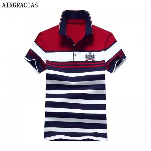 AIRGRACIAS 2017 New Fashion Summer Mens Polo Shirt Casual Striped Polo Shirt Men Cotton Shirt For