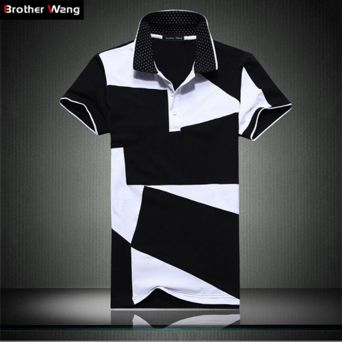 Casual POLO shirt male summer fashion new men s black and white stitching cotton short polo