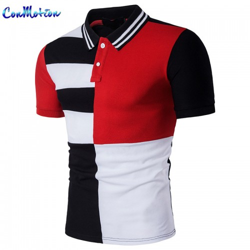ConMotion Brand Clothing UK Size Fashion Men s Polo Shirt High Quality Striped Patchwork Casual Polo