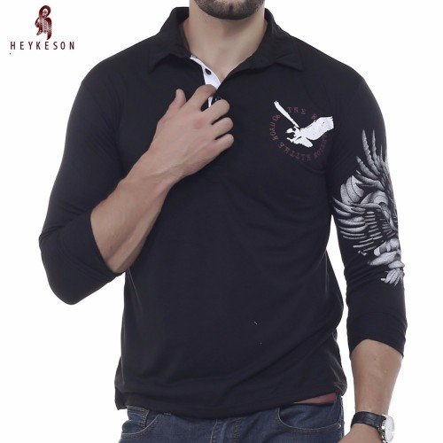 HEYKESON Mens Polo Shirt Brands 2017 Male Long Sleeve Fashion Casual Slim Solid Eagle Printing Polos