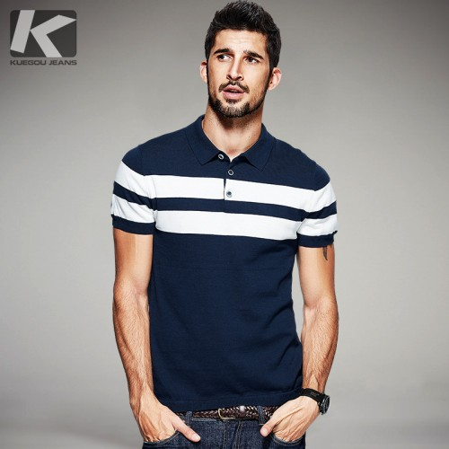 KUEGOU 2017 Summer Mens Knitted Polo Shirts 100 Cotton Striped Blue Brand Clothing Man s Wear