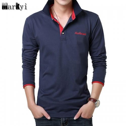 MarKyi 2017 Fashion Embroidered Logo Mens Polo Shirts Brands 23 Colors Casual Polo Long Sleeve Shirts