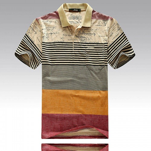 Men Fashion Striped Print Polo Shirts Male Cotton Business Casual Tops Tee Shirt Brand Clothing Men