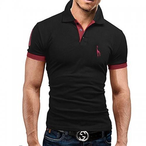 Mens Polo Shirt Brands 2017 Male Short Sleeve Fashion Casual Slim Deer Embroidery Printing Men Polos