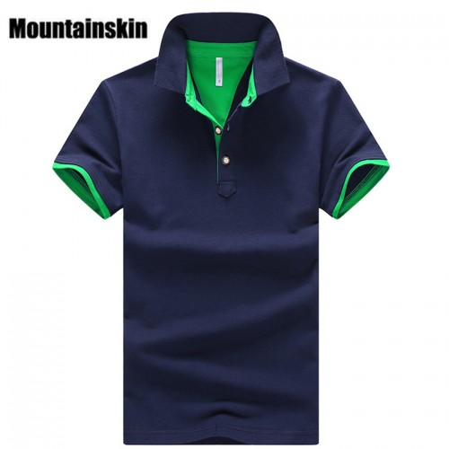 Mountainskin 2017 Solid Mens POLO Shirts Brand Cotton Short Sleeve Camisas Polo Summer Stand Collar Male