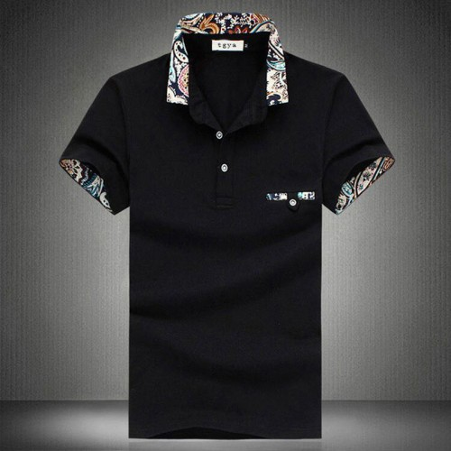 Summer Polo Homme men s short sleeve floral lapel cotton polo mens solid breathable polo shirts