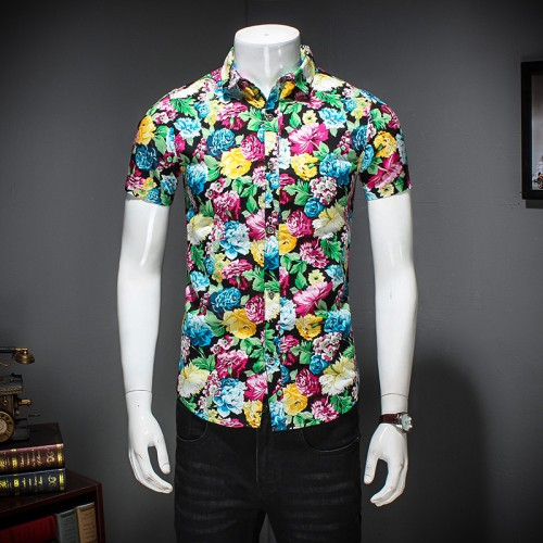 High Quality Summer Shirt Men Fashion 2017 Spring Slim Fit Floral Mens Shirt Short Sleeve Casual