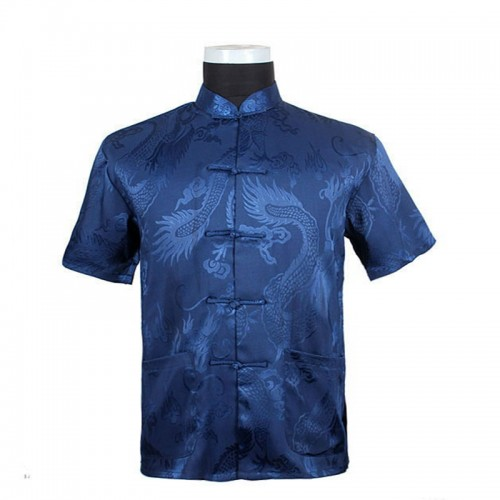 Hot Sale Chinese Tradition Style Men s Blue Dragon Pattern Kung Fu Short Sleeve Shirts M