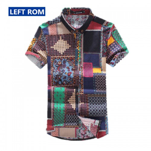 Left ROM summer New boutique linen cotton fashion printing Men s slim short sleeved shirts