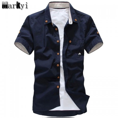 MarKyi plus size 5xl mushroom embroidery mens short sleeve casual shirts fashion 2017 new summer cotton