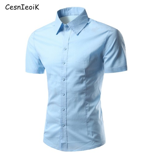 NEW Summer Fashion Mens Shirt Casual Slim Fit Shirt Short Sleeve Mens White Chemise Homme