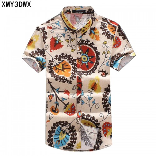 New 2017 Summer Men s Slim Casual Linen Printing flower short sleeve shirts Male flax fabric