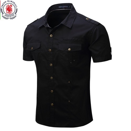 New Arrive Mens Cargo Shirt Men Casual Shirt Solid Short Sleeve Shirts Work Shirt with