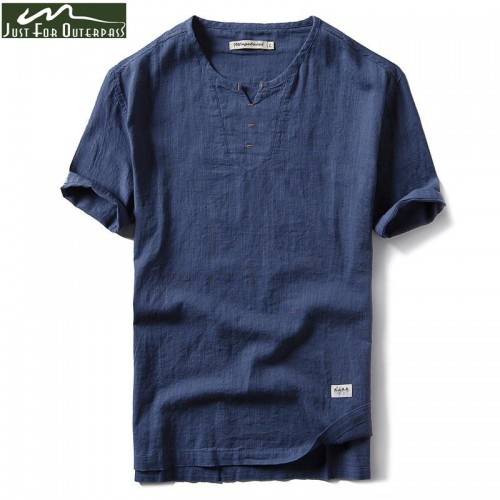New Summer Brand Shirt Men Short Sleeve Loose Thin Cotton Linen Shirt Male Fashion Solid
