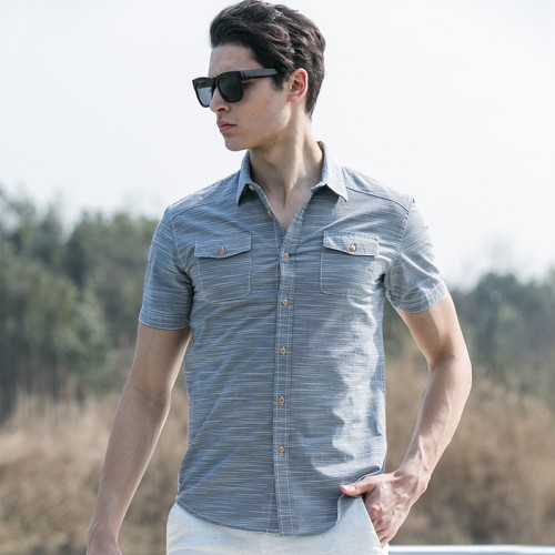 Pioneer Camp Summer Style Striped Shirt Men 100 Cotton Camisa Slim Fit Brand Clothing Short Sleeve