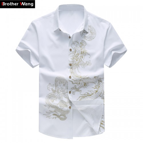 Summer New Men s Shirt 2017 Male Fashion Leisure Pattern Printing Short Sleeve Shirt Chinese Wind