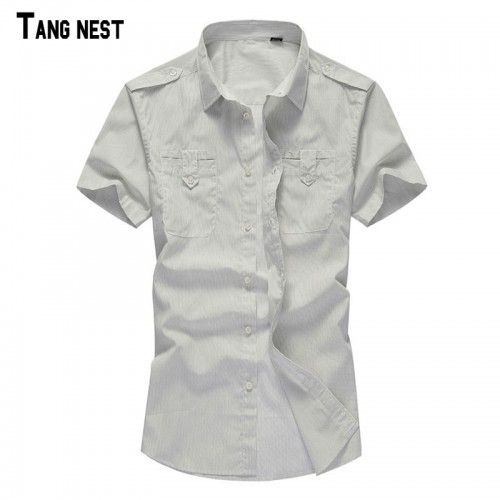 TANGNEST Men Dress Shirt 2017 New Arrival Men s Summer Short Sleeve Dress Shirts Turn down