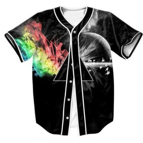 Women Men Fashion Clothing V Neck Shirt Space Printed Galaxy Abstract Prism Jersey Style Top