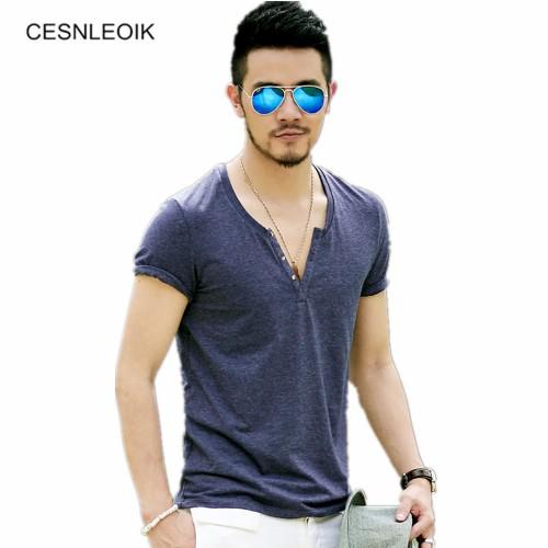 Plus Size S XXL mens t shirts fashion new casual short sleeve V neck cotton men