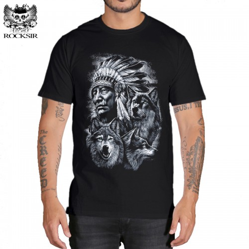 Rocksir 3d wolf t shirt mens Brand 3D Indians wolf Print t shirts Cotton wolves Men