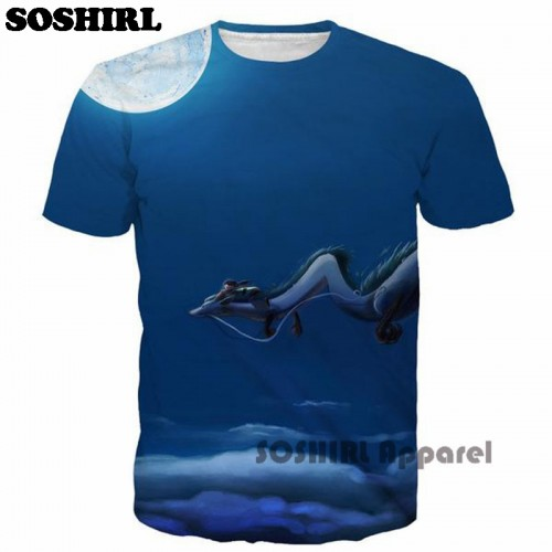 SOSHIRL Cartoon T Shirt Fashion 3D T Shirt Unisex s Summer Tops US Size
