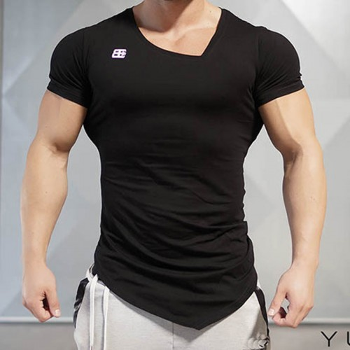 Summer Bodybuilding and Fitness Mens Short Sleeve T shirt GymS Shirt Men Muscle Tights Gasp