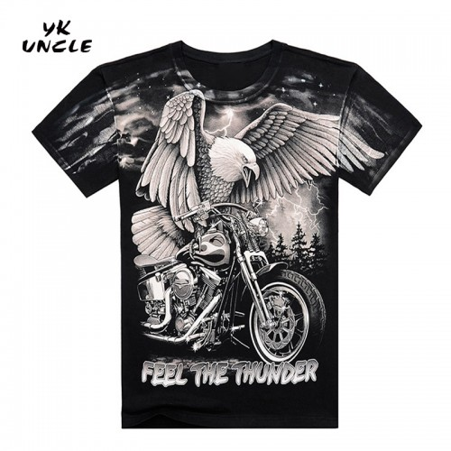 Summer High Quality 3D Harley Motorcycle And Eagle Printed T Shirt Cotton Short Sleeve O Neck