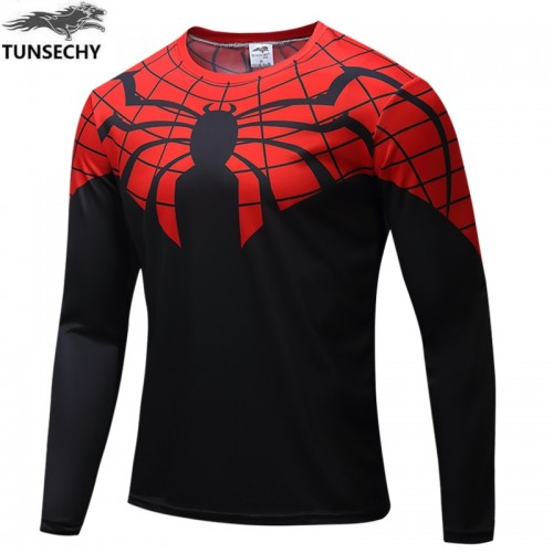 Black Red Spider Printed Long Sleeves Quick Dry T Shirt