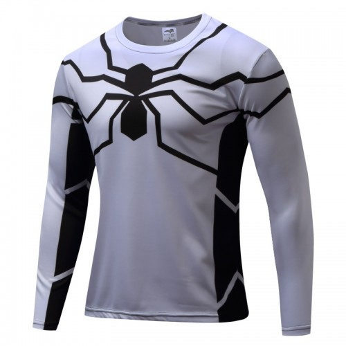 White Spider Printed Long Sleeves Quick Dry T Shirt